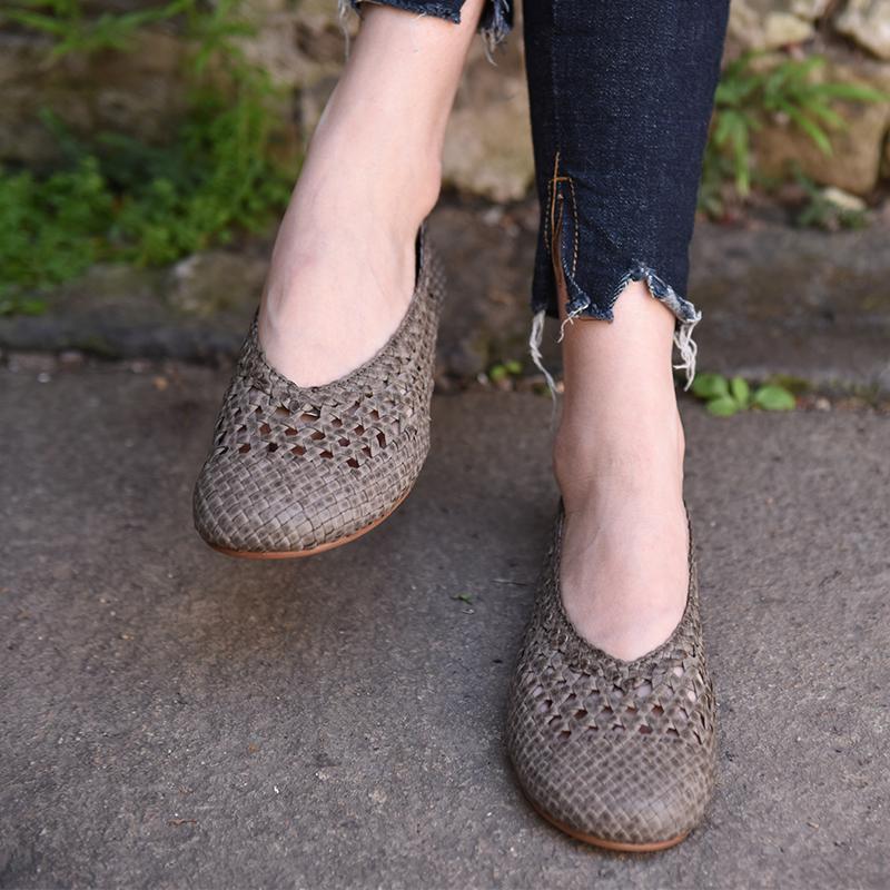 Artmu阿木原创夏新款复古手工编织羊皮镂空凉鞋女平底包头女鞋子
