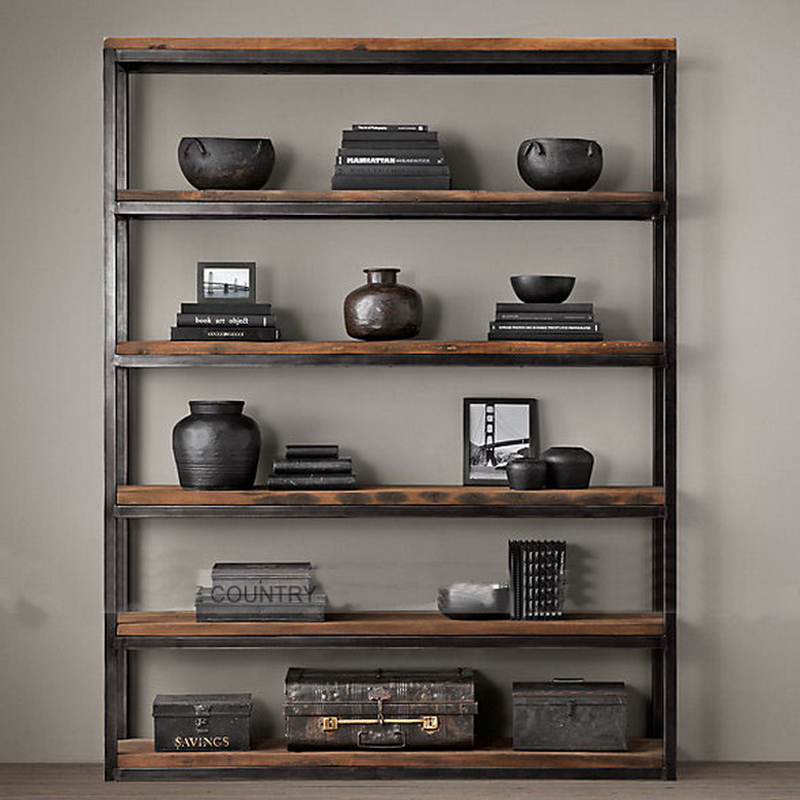 美式客厅置物架落地多层收纳架厨房搁物架子铁艺层架复古实木书架