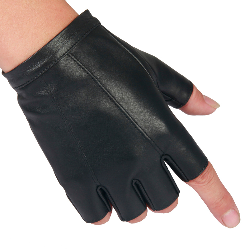 半指手套男 开车骑行健身户外运动防滑透气登山加厚保暖真皮手套