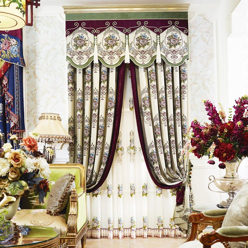 一米雪尼尔窗帘布欧式奢华落地窗嘉比里拉