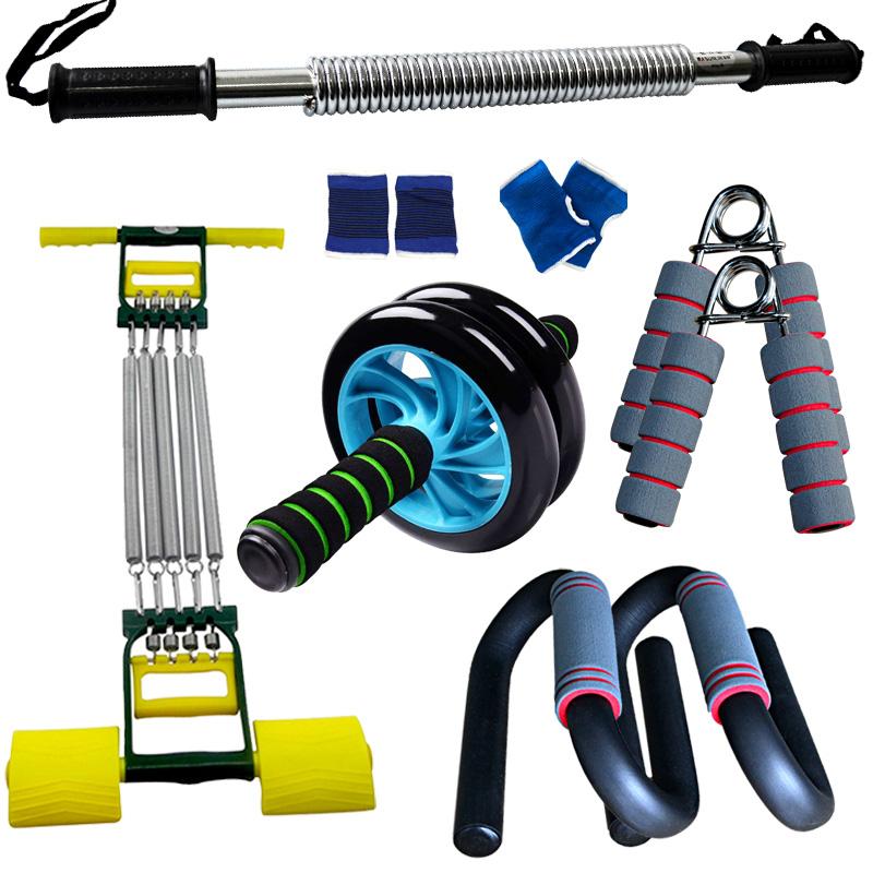 双林臂力器套装 男士家用健身器材五件套 拉力器握力器健腹轮组合