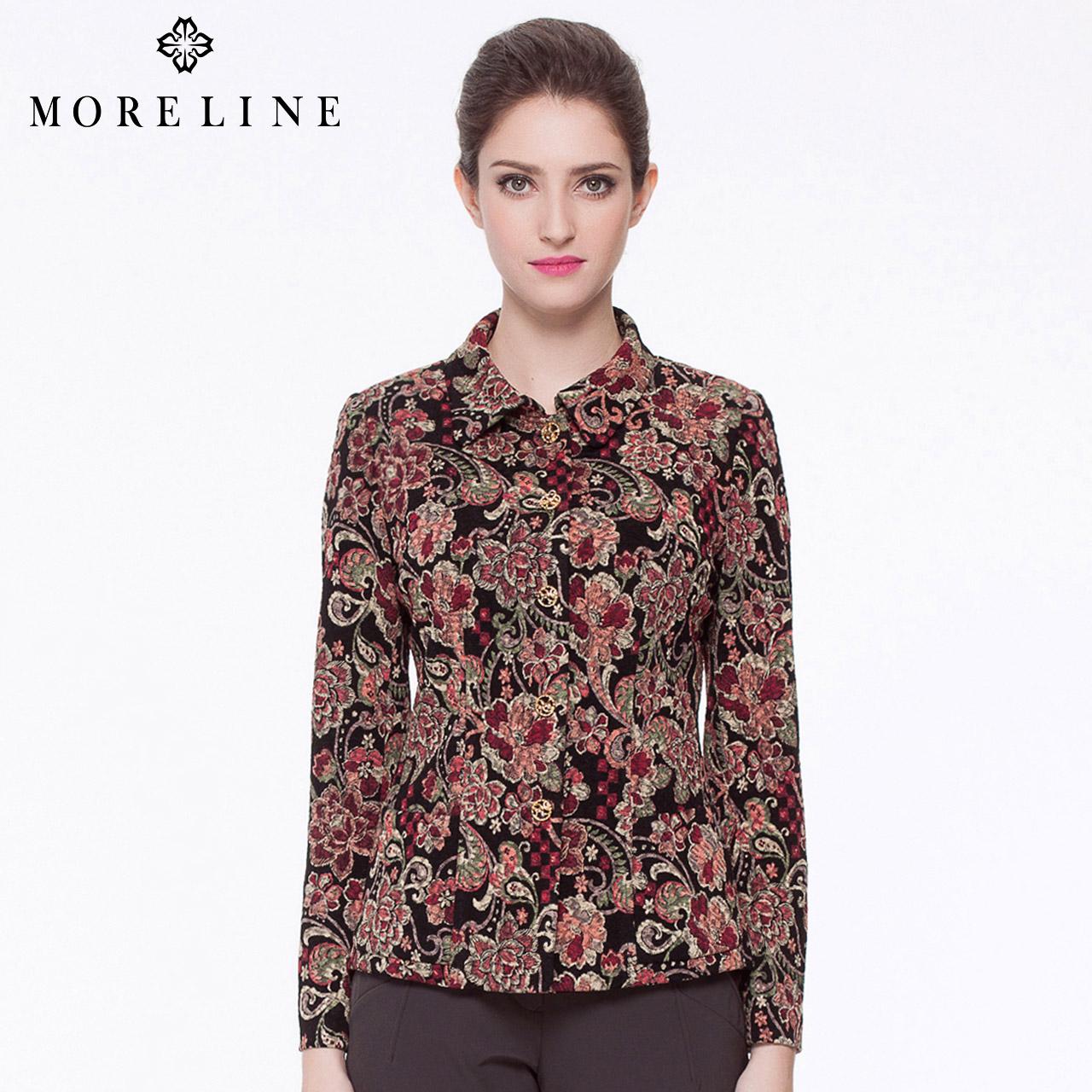 商场同款MORELINE沐兰秋季新品修身短款翻领针织外套1160361