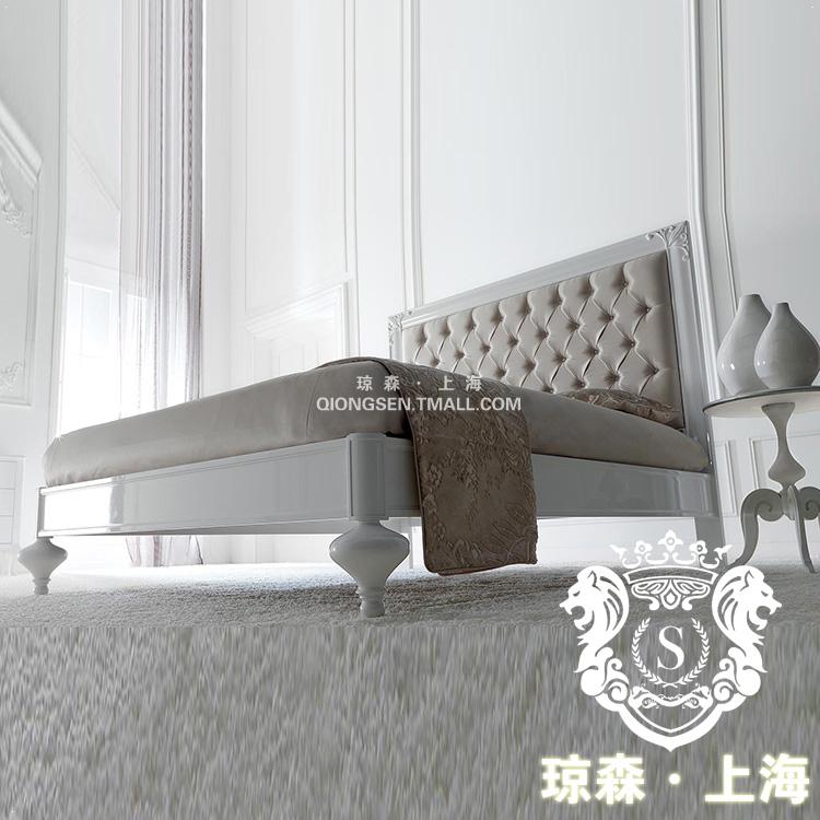 琼森白色烤漆实木雕刻双人床18X001 (101)