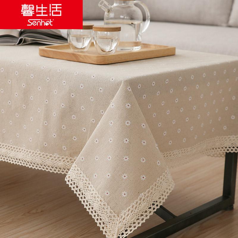 馨生活雏菊棉麻蕾丝桌布020500272