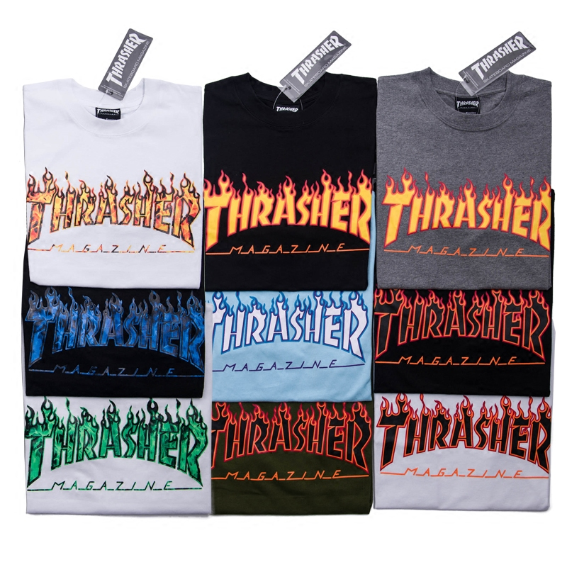 Chaoshan US version of Thrasher flame tee skateboard red and blue flame  short-sleeved T e7c24bed41