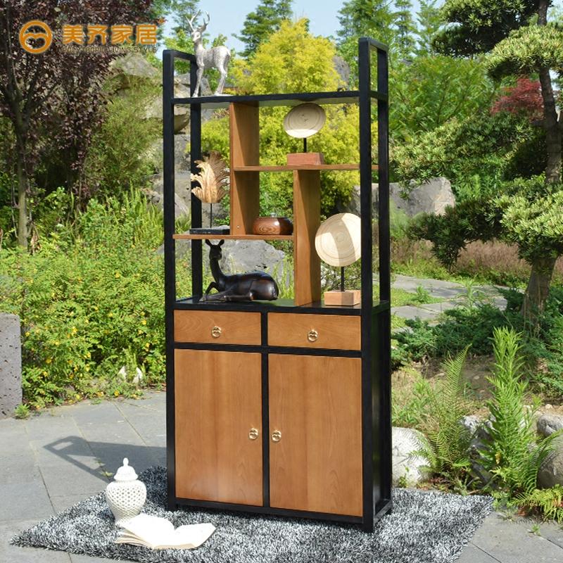 美齐现代中式榆木实木隔断酒柜XG-19