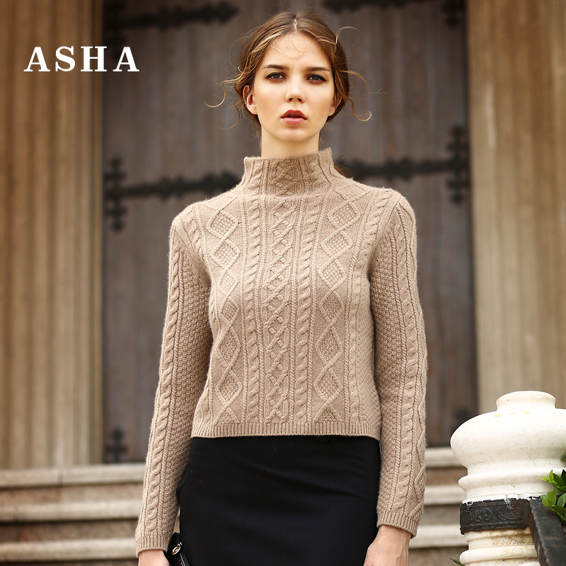 ASHA love shirt autumn and Winter new pure cashmere sweater female half-high collar hemp thick twist sweater