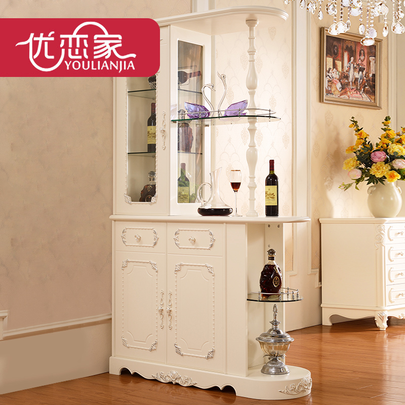优恋家欧式家具柜白色实木酒柜