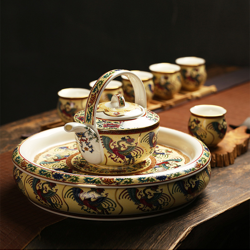 Jingdezhen antique collection enamel 8 head double tea imperial enamel principal tea tray CPU suit the teapot