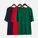 夏季韩版外穿修身开叉短袖纯色t恤女