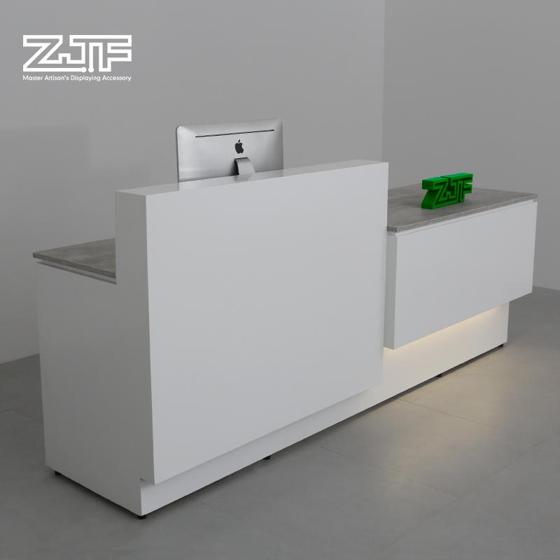 众匠坊ZJF 公司前台接待台 简约现代吧台桌白色迎宾台烤漆收银台