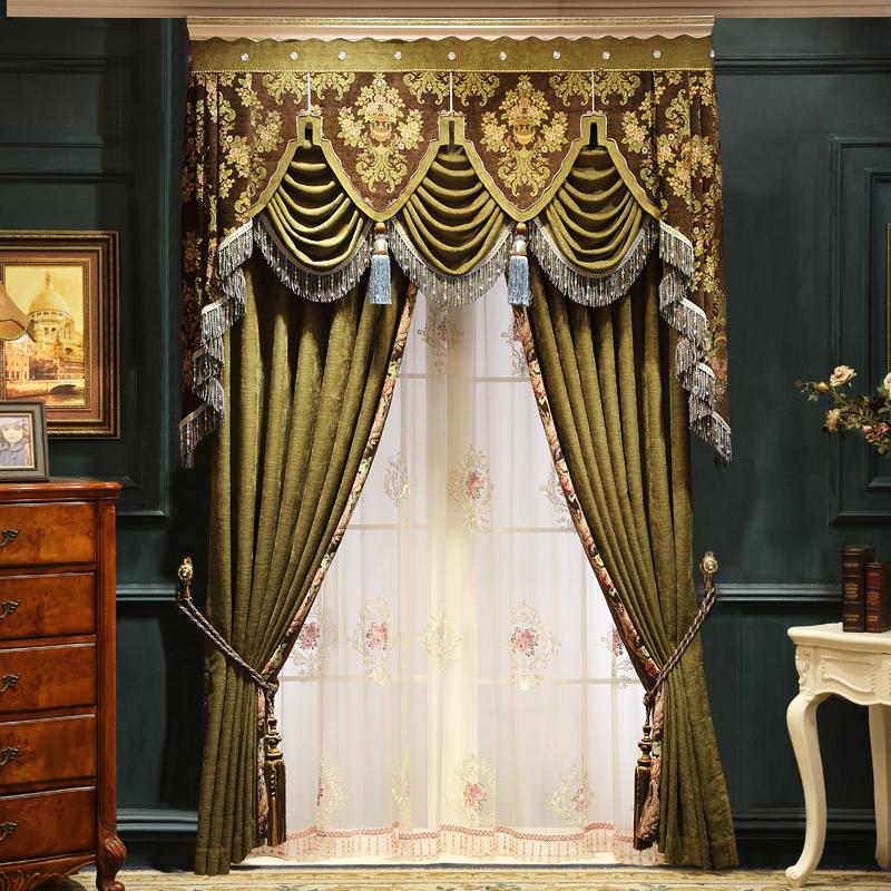 欧曼蒂美式雪尼尔窗帘成品落地窗MT-101