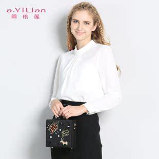 阿依莲2016秋装长袖白衬衫