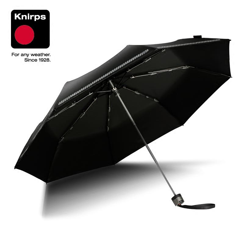 knirps德国手动三折折叠伞男女黑胶涂层防晒遮阳伞碰击布晴雨两用
