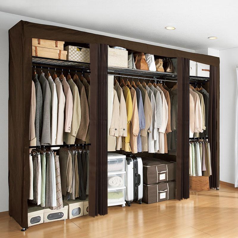 会生活简易衣柜成人伸缩衣橱钢管布艺单人布柜组装简约现代经济型