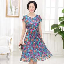 夏季中年人连衣裙中长裙夏装中老年妈妈装35-40-50岁蕾丝裙子女装