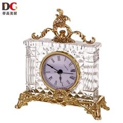 蒂高美居 奢华高档创意玻璃镶铜桌面摆设时钟装饰宫廷工艺品钟表