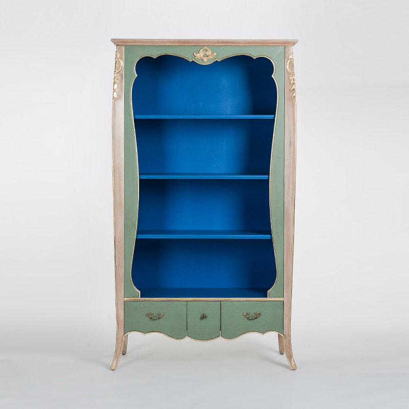奇居良品法式白榉木蓝灰色雕花书柜JJ474