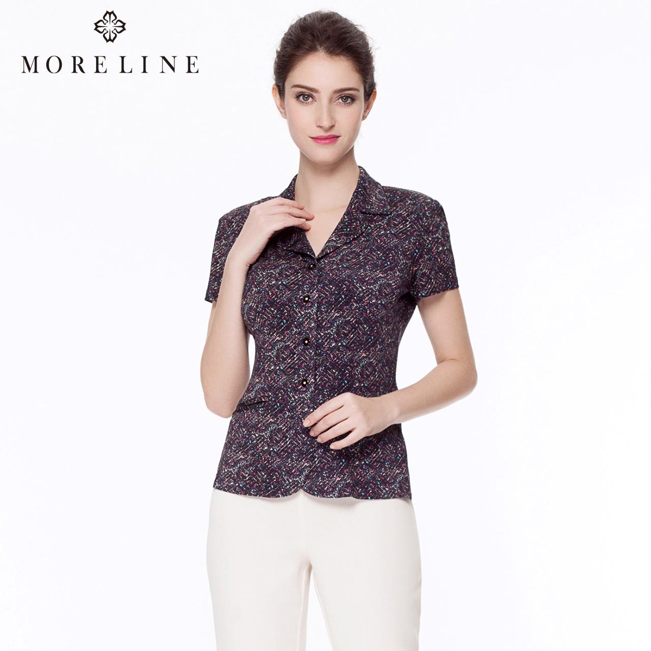 MORELINE沐兰正品春夏季女装 优雅时尚修身气质 翻领印花短袖衬衫