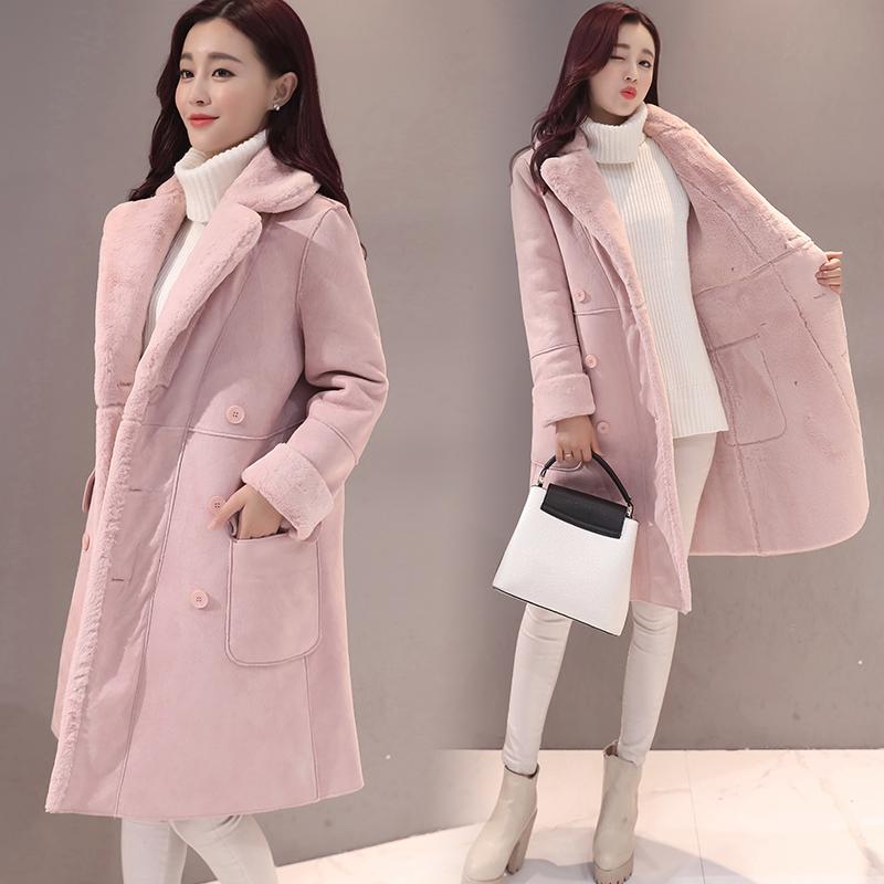 2017冬季新款羊羔毛外套女韩国加绒加厚大衣中长款鹿皮绒翻领棉衣