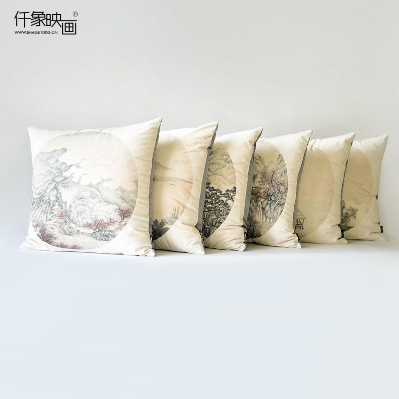 仟象映画山水水墨花卉艺术抱枕THB-0390