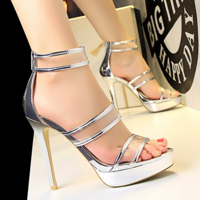 2492-5 han edition fashion pedicure ultra-high with waterproof sexy nightclub show thin hollow transparent one word with