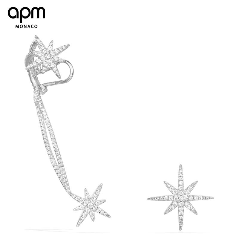 APM Monaco不对称星星耳环银镶晶钻耳夹个性简约耳钉女气质潮