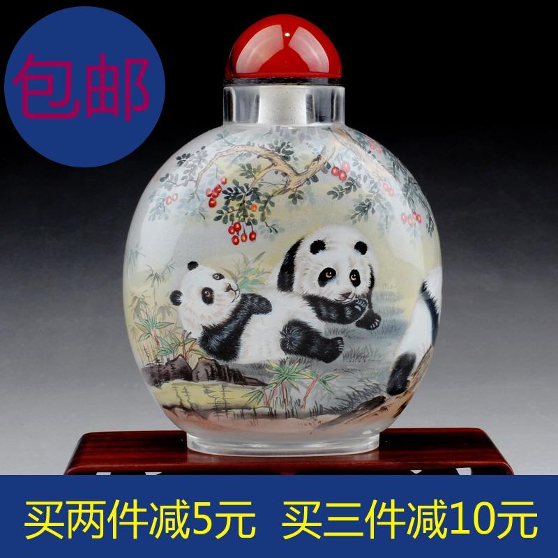 艺壶斋鼻烟壶内画民间中国特色手工艺品大肚壶-熊猫图