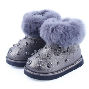 韩版冬季加绒可爱铆钉女童雪地靴