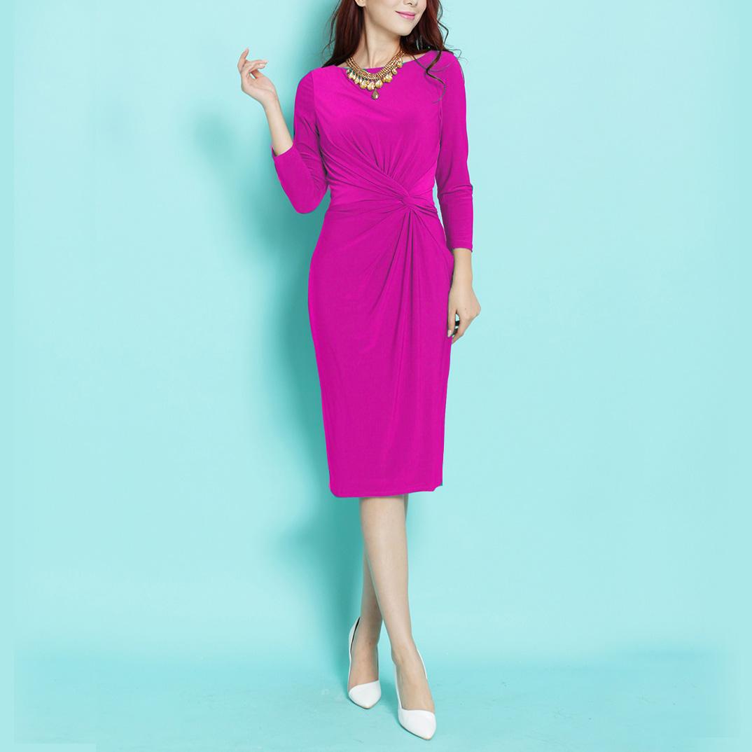 Женское платье Идя по дороге к 2018 году весна и осень Соединенных Штатов счетчик лодка шеи Ньюпорт цветок стрейч тонкий был тонкий платье ol