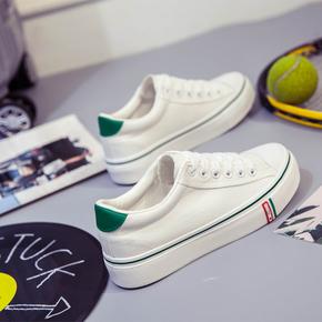 女鞋厚底学生帆布鞋小白鞋