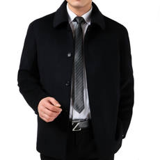 Autumn and winter new men's casual middle-aged wool woolen coat men's lapel long cashmere jacket