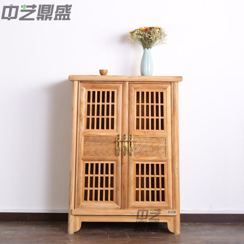 中艺鼎盛老榆木雕花餐边柜储物柜