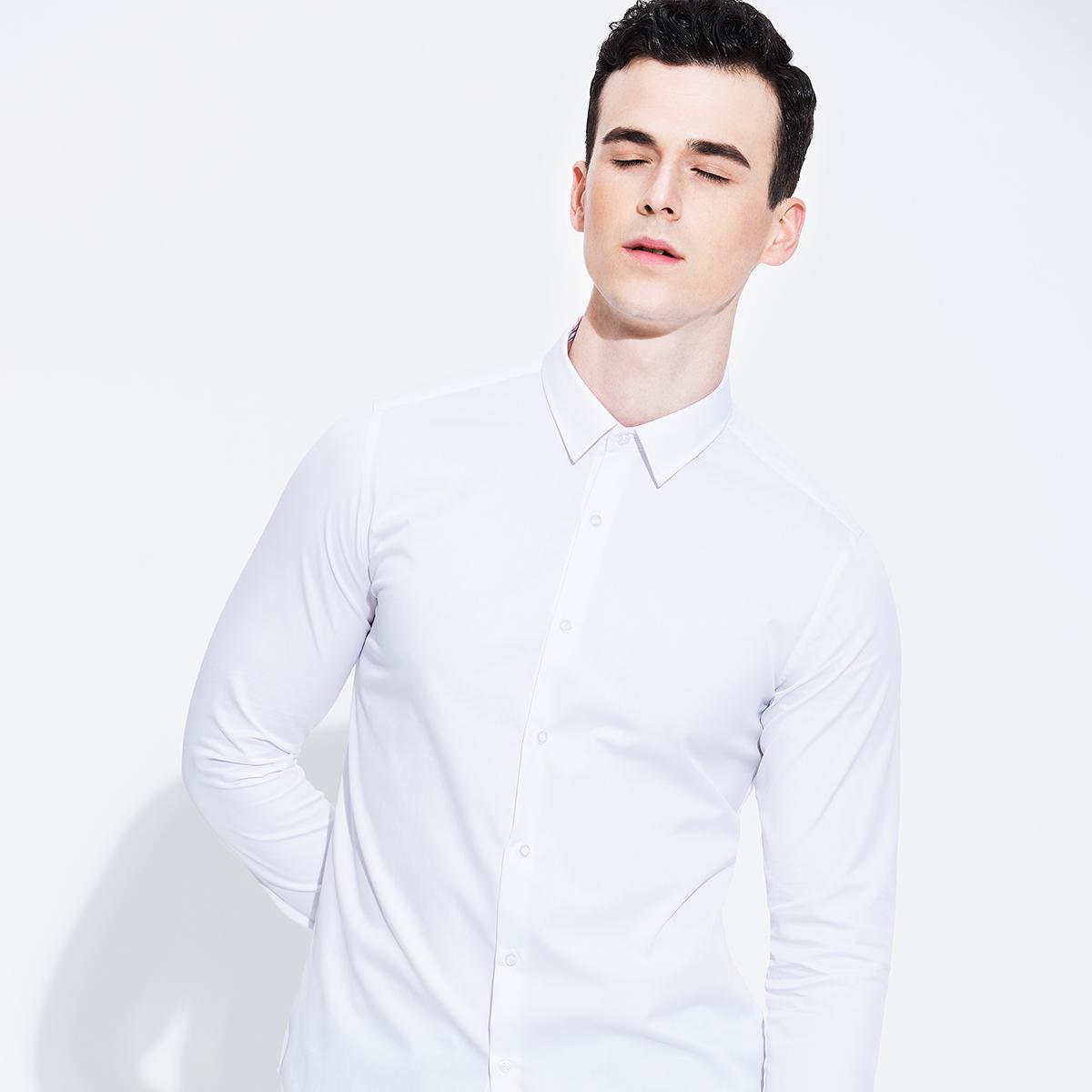 有男愹il��9f�Y_【ilhit依乐海官网】依乐海 白色衬衫男长袖修身衬衫