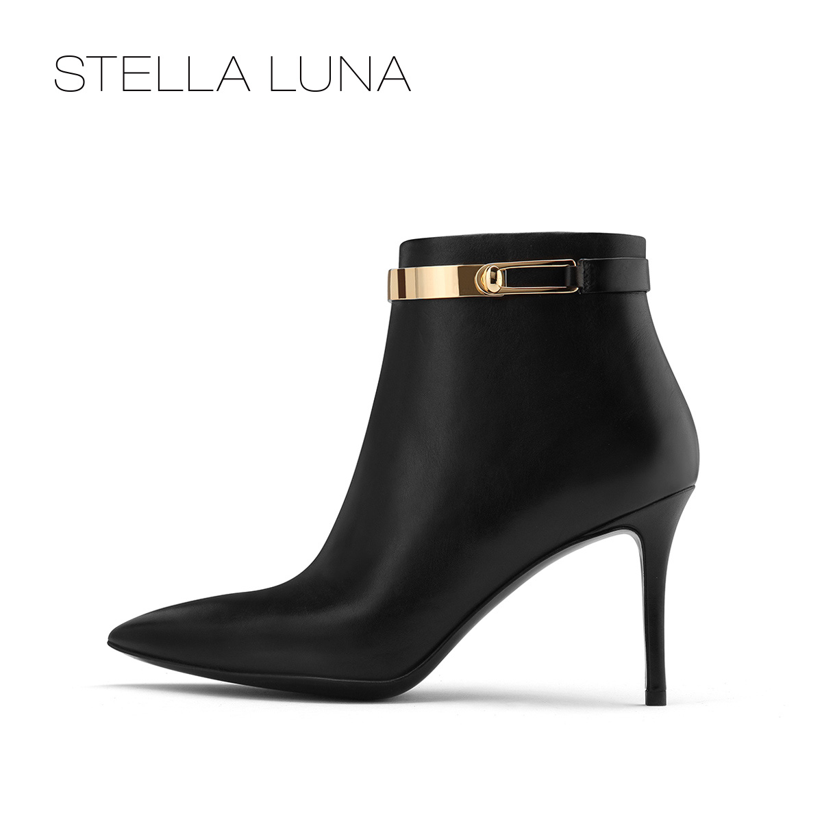 STELLA LUNA冬季新款金属搭扣细高跟女士短靴SG320C01064
