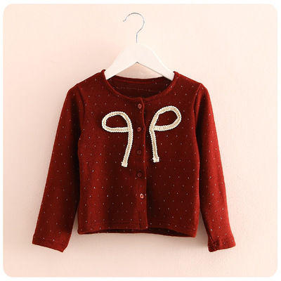 2015 autumn new girls' wear Korean version of the bow knot children's knit cardigan jacket