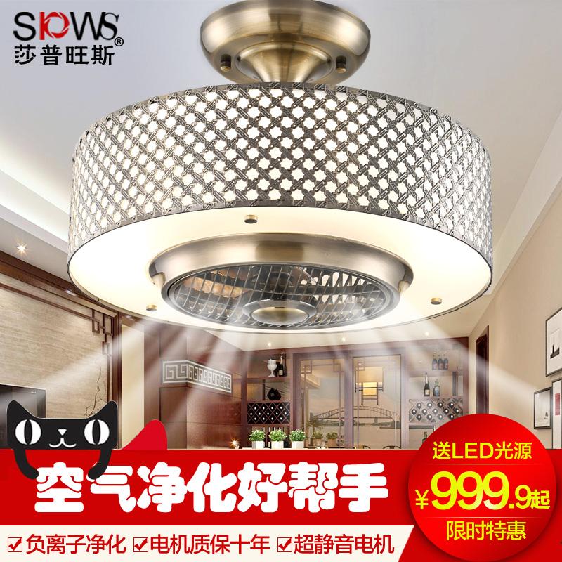 中式隐形风扇吊灯 带电风扇的负离子餐厅灯复