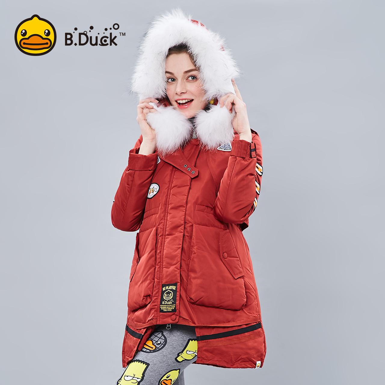 B.Duck 小黄鸭女装冬季加绒长款羽绒服女