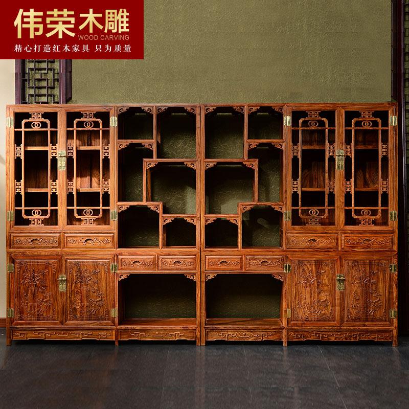 伟荣红全刺猬紫檀实木书柜g03