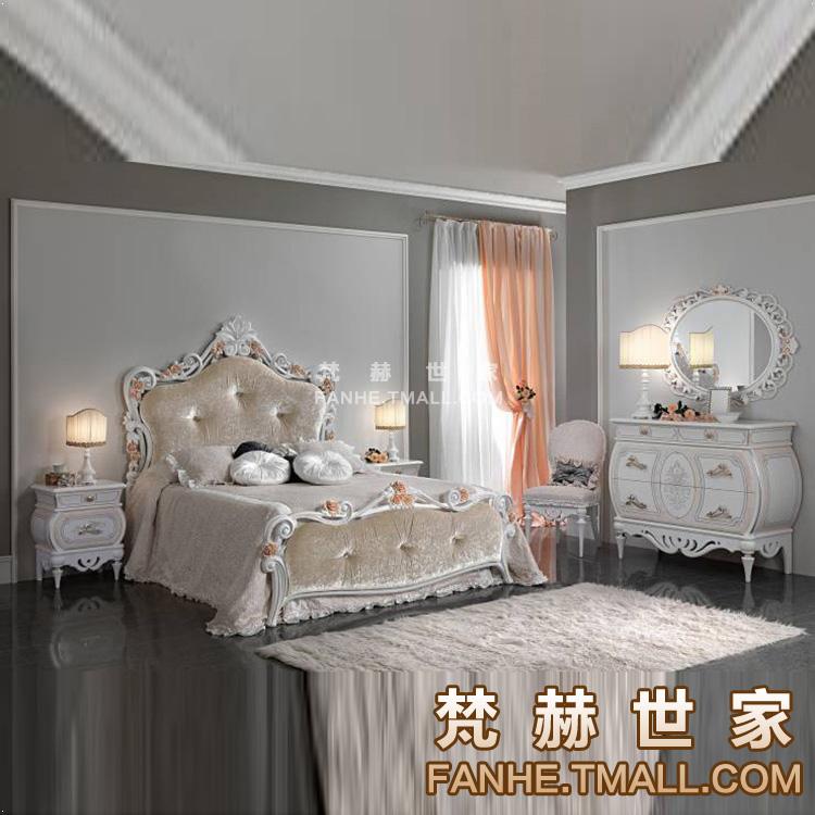 梵赫新古典白色烤漆描金布艺双人床f15021