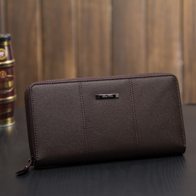2016 Europe and the United States new men's wallet genuine leather Korean version of the long hand bag zipper bag business leather handbag