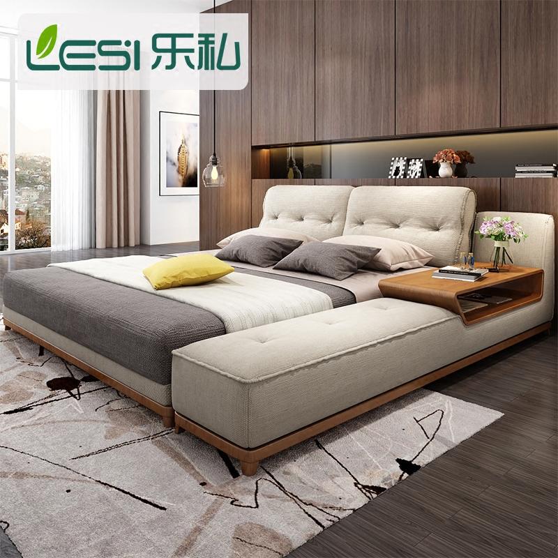 乐私现代简约创意双人床