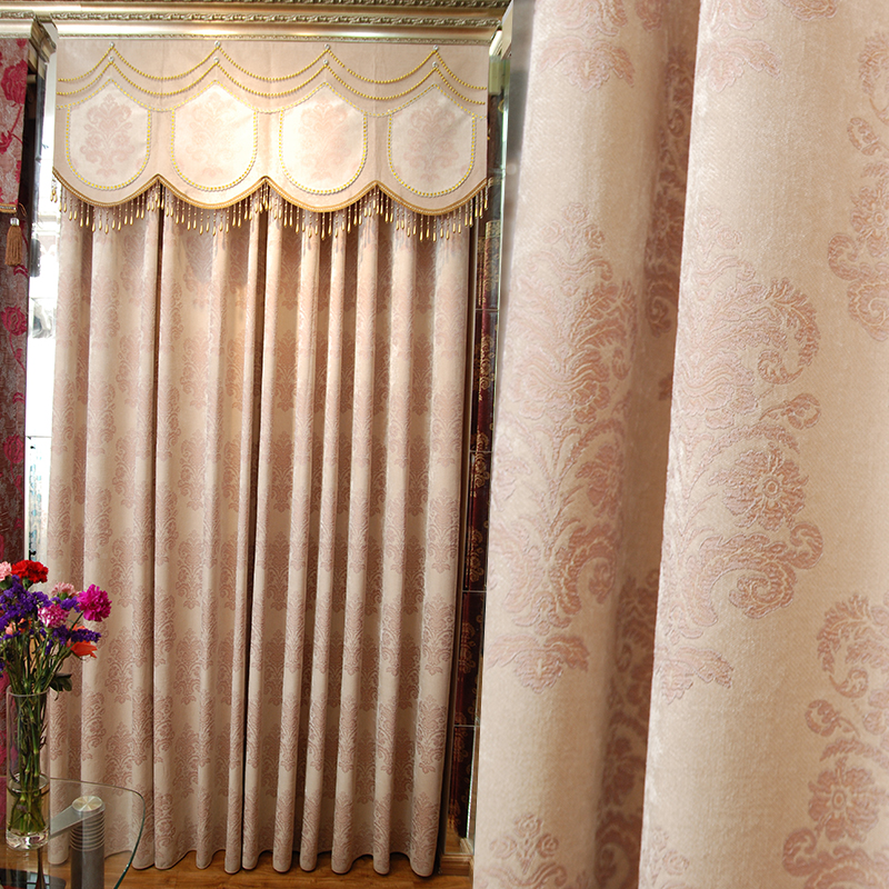 尚名格奢华欧式窗帘落地窗雪尼尔提花厚布成品