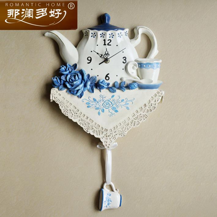 那澜多好仿陶瓷茶壶静音壁钟表NL-1002