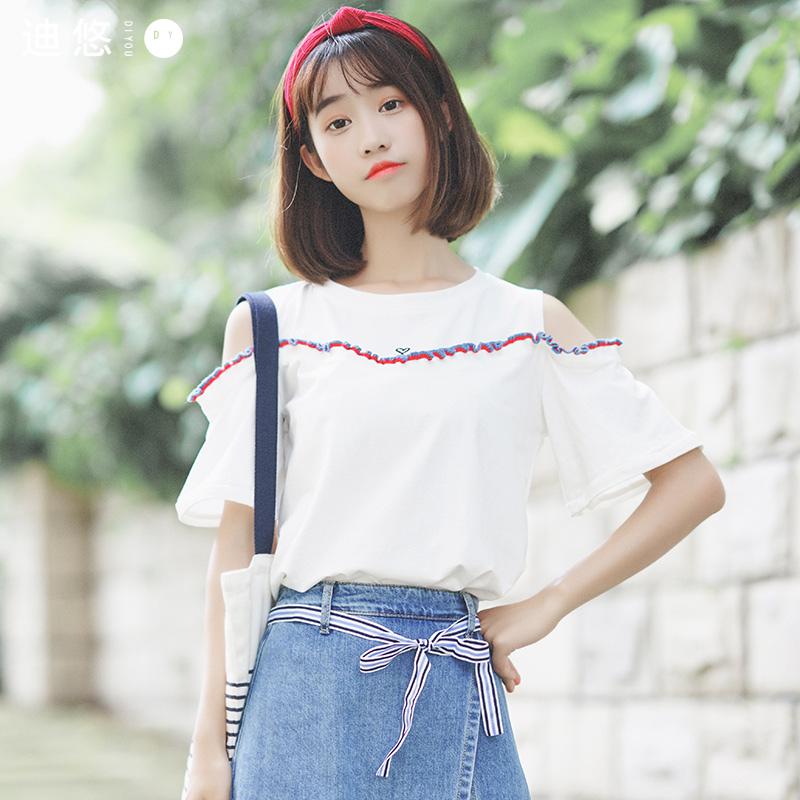 迪悠2018夏季新款女装 韩版短袖T恤