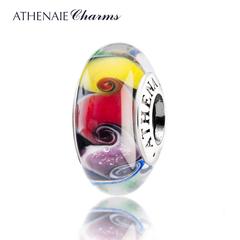 ATHENAIE手工烧制意大利琉璃 七彩漩涡DIY琉璃珠搭配转运珠送女友