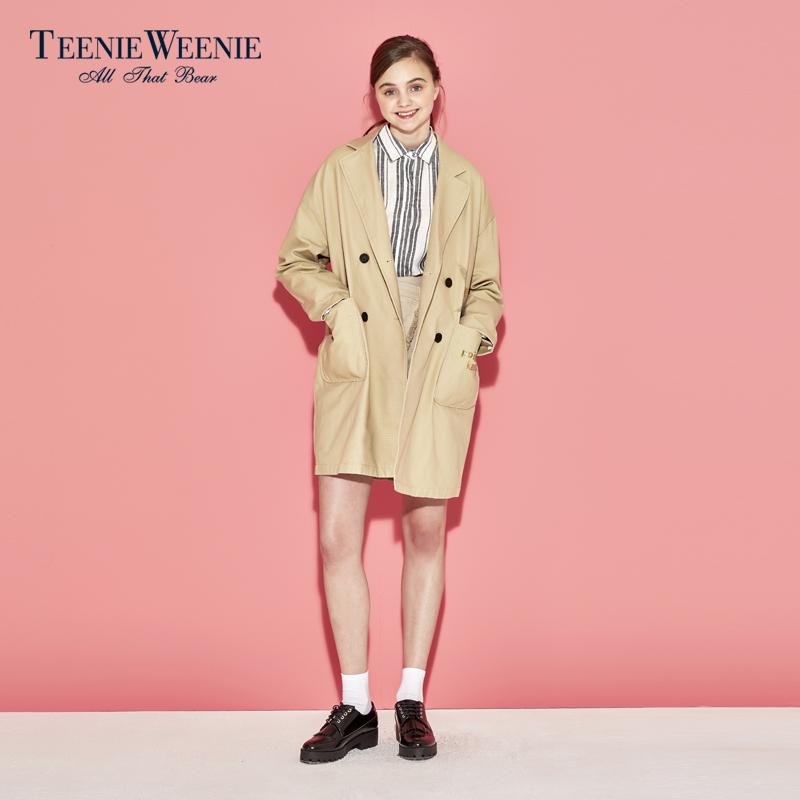 Teenie Weenie小熊夏季女装V型翻领双排扣风衣外套TTJK72309B