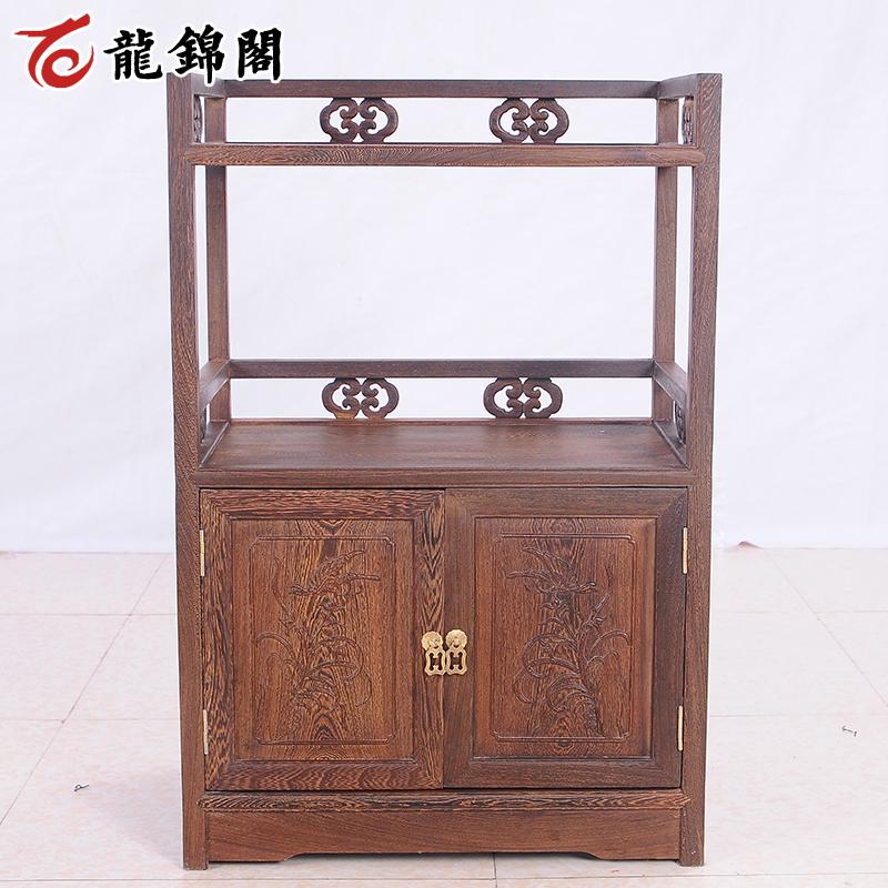 龙锦阁鸡翅木家具仿古红木茶水柜CJ-015