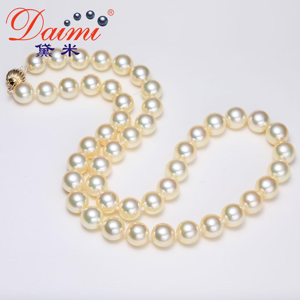 黛米珠宝 奢雅 8-8.5mm正圆高亮泽AKOYA浅金色海水珍珠项链女正品