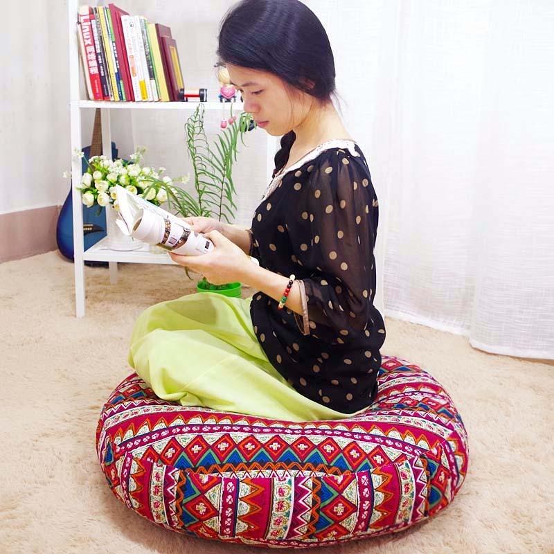可拆洗手工棉麻蒲团垫加厚打坐垫飘窗垫瑜伽静坐茶道榻榻米垫圆垫